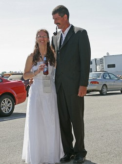 A couple gets married at the track