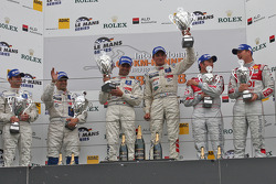 LMP1 podium: class and overall winners Pedro Lamy and Stéphane Sarrazin, second place Marc Gene and Nicolas Minassian, third place Alexandre Prémat and Mike Rockenfeller