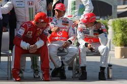 Kimi Raikkonen, Scuderia Ferrari, Lewis Hamilton, McLaren Mercedes and Heikki Kovalainen, McLaren Mercedes