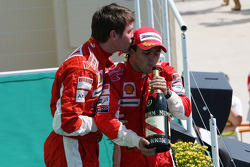 Podium: race winner Felipe Massa with his race engineer Rob Smedly