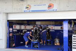 A busy Fiat Yamaha team garage