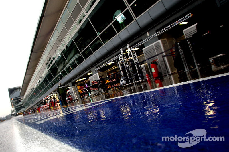 The pitlane after heavy rain