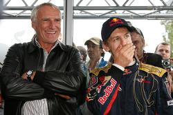 Race winner Sebastian Vettel celebrates with Dietrich Mateschitz, Owner of Red Bull