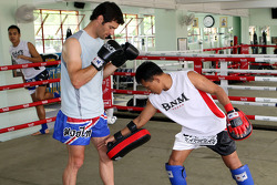 Mark Webber, Red Bull Racing tries out Thai Boxing