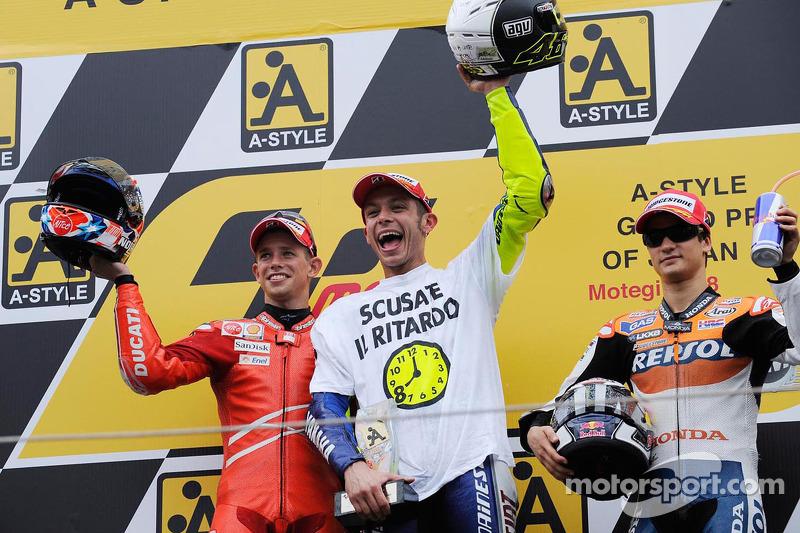 2008 champion Valentino Rossi with Casey Stoner and Dani Pedrosa on the podium