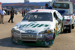 A damaged AMP Energy Chevy after the crash of Dale Earnhardt Jr.