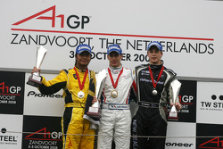 Podium, Loic Duval, driver of A1 Team France, Fairuz Fauzy, driver of A1 Team Malaysia and Earl Bamber, driver of A1 Team New Zealand