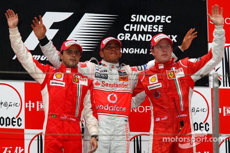 2008 : 1. Lewis Hamilton, 2. Felipe Massa, 3. Kimi Räikkönen