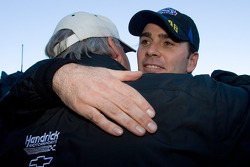 Victory lane: race winner Jimmie Johnson celebrates with Rick Hendrick