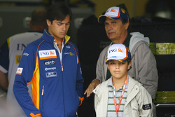 Nelson A. Piquet, Renault F1 Team with his younger brother and his father Nelson Piquet