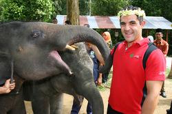 Jimmy Auby, driver of A1 Team Lebanon at the Gandah Elephant Orphanage