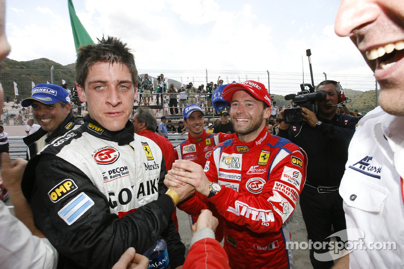 GT2 class winner Matias Russo celebrates with Thomas Biagi