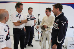 Dr. Mario Theissen, BMW Sauber F1 Team, BMW Motorsport Director and the last years winner Philipp Eng on his Formula One drive with the BMW Sauber F1 Team gets a Rookie hair cut from the F1 Team