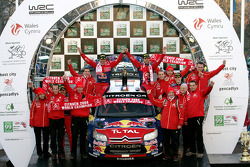 Podium: rally winners Sébastien Loeb and Daniel Elena celebrate win and Citroen's 2008 World Championship with teammates Daniel Sordo and Marc Marti, and Citroen Total World Rally team members