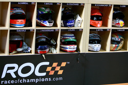 Competitors helmets in the pits