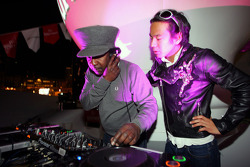 DJ Norman Jay and Sakon Yamamoto Renault Test Driver on the decks at Kingfisher boat party on the Indian Empress