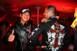 Sakon Yamamoto Renault Test Driver and Kai Ebel RTL TV Presenter at the Fly Kingfisher Boat Party