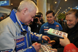 Team Kamaz Master departure press conference at the Moscow airport: Semen Yakubov signs autographs