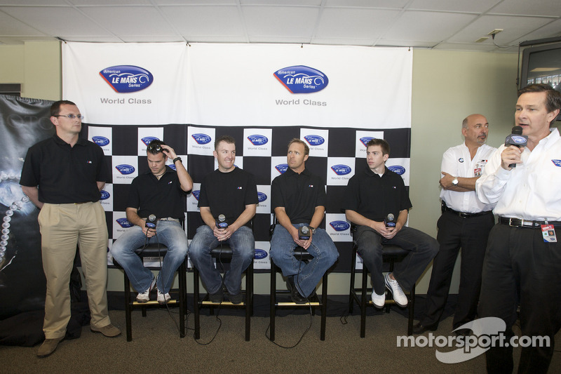 BMW Rahal Letternan press conference: BMW's Martin Birkmann, Dirk Muller, Joey Hand, Bill Auberlen, Tom Milner and Bobby Rahal