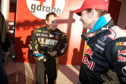Raybestos Rookie of the Year radio-controlled car race event: Ryan Newman, Stewart-Haas Racing Chevrolet, and Scott Speed, Red Bull Racing Team Toyota