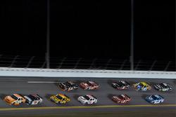 Joey Logano, Joe Gibbs Racing Toyota leads Dale Earnhardt Jr., Hendrick Motorsports Chevrolet and a group of cars