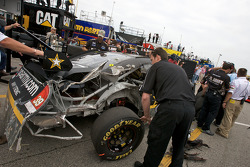 Wrecked car of Ryan Newman, Stewart-Haas Racing Chevrolet, after his crash with teammate Tony Stewart, Stewart-Haas Racing Chevrolet