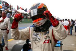 Race winner Neel Jani celebrates