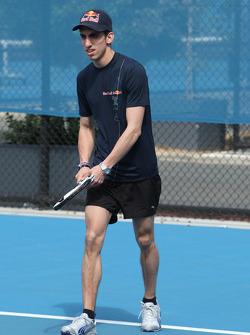 Sebastien Buemi, Scuderia Toro Rosso playing tennis