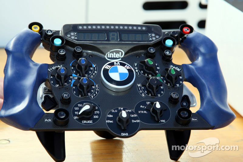Nick Heidfeld, BMW Sauber F1 Team and the steering wheel with KERS BOOST Button and Wings adjustment