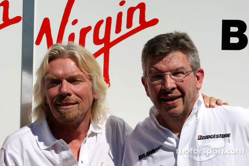 Sir Richard Branson CEO of the Virgin Group makes and announcement regarding the Virgin sponsorship deal with Brawn GP, Ross Brawn Brawn GP Team Principal