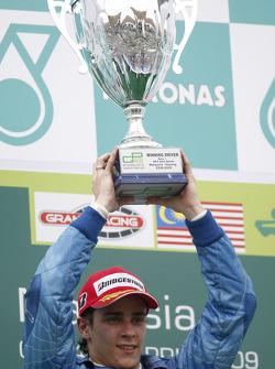 Diego Nunes celebrates his victory on the podium