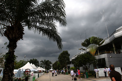 Grey clouds over the paddock