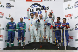LMP1 podium: class and overall winners Jan Charouz, Tomas Enge and Stefan Mücke, second place Jean-Christophe Boullion and Christophe Tinseau, third place Stéphane Ortelli and Bruno Senna