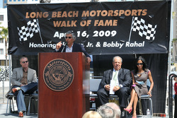 Jim Michaelian giving an introduction during the Long Beach Motorsports Walk of Fame induction