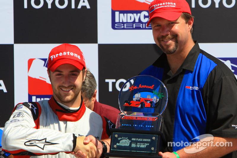 Victory lane: race winner J.R. Hildebrand