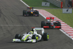 Jenson Button, Brawn GP, Lewis Hamilton, McLaren Mercedes and Sebastian Vettel, Red Bull Racing