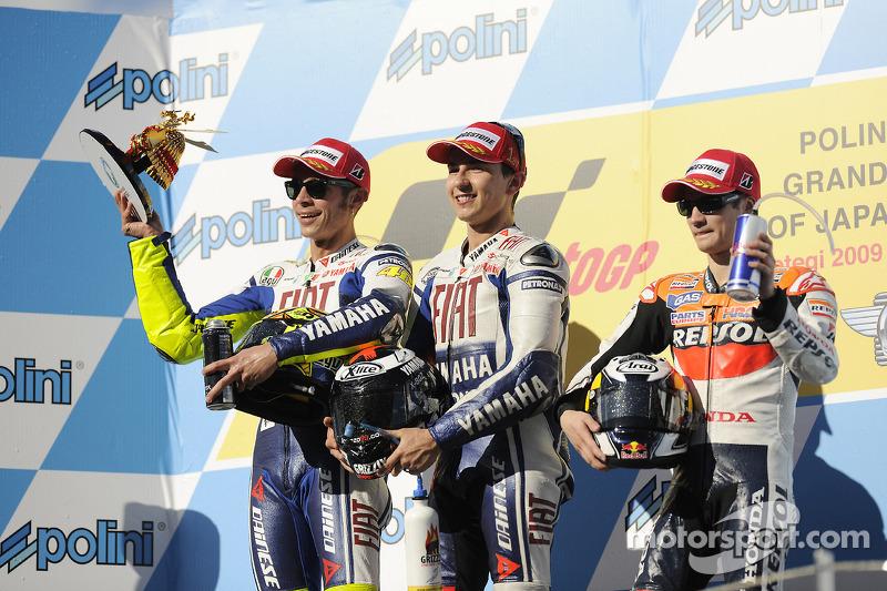 2009 podium with winner Jorge Lorenzo, Valentino Rossi and Dani Pedrosa