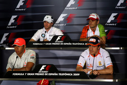 FIA press conference: Lewis Hamilton, McLaren Mercedes, Nick Heidfeld, BMW Sauber F1 Team, Fernando Alonso, Renault F1 Team and Giancarlo Fisichella, Force India F1 Team
