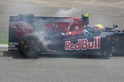 Sebastien Buemi, Scuderia Toro Rosso stops on the circuit and his brakes catch fire