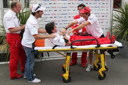 Toyota celebrates the 300 GP ot team doctor Riccardo Ceccarelli with Timo Glock, John Howett, Toyota F1 Team, President TMG and Jarno Trulli, Toyota F1 Team