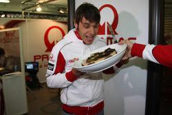 Niccolo Canepa, Pramac Racing, celebrates his birthday