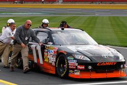 Denny Hamlin, Joe Gibbs Racing Toyota pushed after breaking a transmission