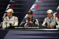 Jenson Button, Brawn GP, Sebastian Vettel, Red Bull Racing and Rubens Barrichello, Brawn GP