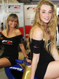 F2 grid girls visit the F2 garages