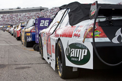 Dale Earnhardt Jr's cars sits on pit road