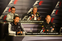 FIA press conference: Paddy Lowe McLaren Engineering Director, Sam Michael, Williams F1 Team, Technical director, Pat Symonds, Renault F1 Team, Executive Director of Engineering, Adrian Newey, Red Bull Racing, Technical Operations Director