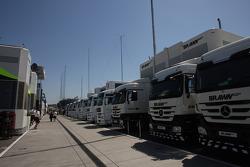 Brawn GP Trucks in the paddock