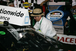 Victory lane: race winner Carl Edwards celebrates with car owner Jack Rousch