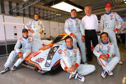 David Richards pose with Jan Charouz, Tomas Enge, Stefan Mücke, Harold Primat, Miguel Ramos and Darren Turner
