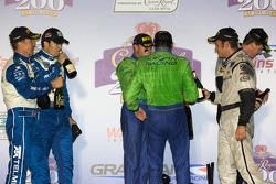 DP podium: Nic Jonsson, Ricardo Zonta, Scott Pruett, Memo Rojas, Christophe Bouchut and Scott Tucker celebrate with champagne